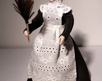 Doll with maid costume, removable, scale 1:12. Miniature for dollhouse.