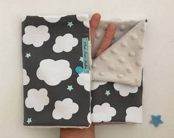 Loop for children, neck warmer for kids, infinity scarf and cache cou enfant in jersey with soft minky pile and sweet clouds and mint stars