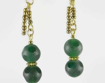 Gemstone earrings: partially frosted green jade and dark gold metallic rocaille for these earrings