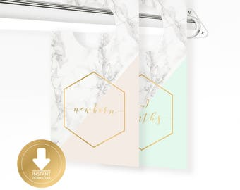 INSTANT DOWNLOAD - Marble Gold & Pastel Baby Closet Dividers - Baby Clothes Divider - Closet Organizer - Baby Shower Gift