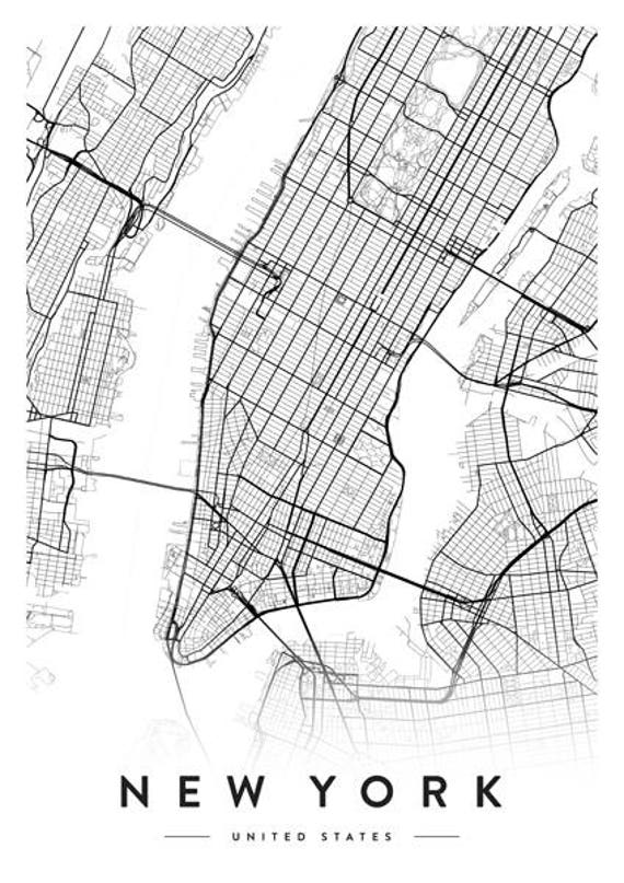 New York City Map New York Print New York City New York - New york city map drawing