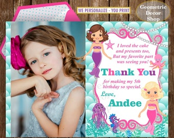 Mermaid Under the Sea Thank you card Pool Party Bash Birthday Girl Swimming twins siblings joint combined dual double teal pink silver HMer1