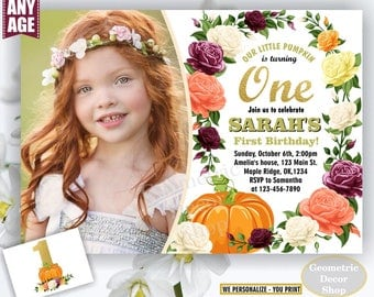 Pumpkin birthday invitation flowers any age fall burgundy rose wine blush florals invite 1st floral girl shabby chic photo gold BDPumpkin17