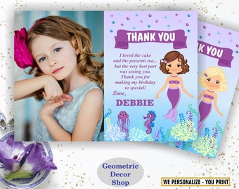 Mermaid / Under the Sea / Thank you card / Pool / Party / Bash / Birthday / Girl / Swimming / teal / purple / photo / photograph / THMer4