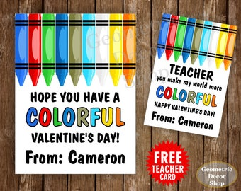 Colorful / Crayons / Crayon / red / blue / Boy / Girl / Valentine / Card / Valentines / Valentine's / Personalized / Tags / teacher /Card78