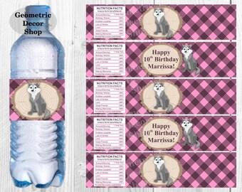 Pink Water Bottle Labels Lumberjack Birthday Milk Wilderness Buffalo Plaid Lumber Jack great wolf lodge baby shower WLLJ7