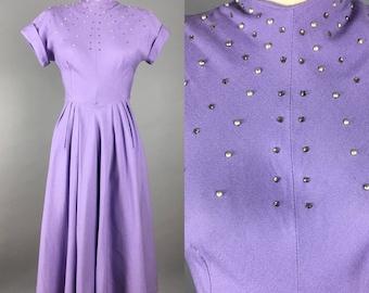 1950s studded rhinestone purple dress