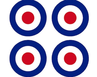 "Set of 4 Remote Control (RC7) Red Blue White RAF Roundels 2 3/4"" RC Airplane Sticker Decal"