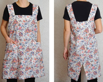 Apron dress Japanese Square Cross Back Full apron Pinafore No tie apron Cotton Kitchen Chef apron with pockets Gift for Mom Ideas Pinafore