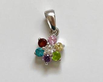 Sterling Silver Multi-Gemstone cz Flower Pendant