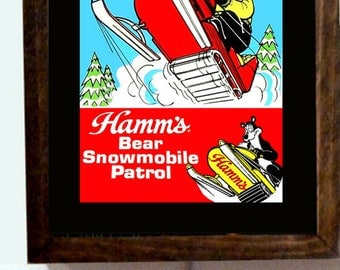 Hamm's Hamms Beer Bear Snowmobile Snowmobiling Winter Sports Wood Frame Light Lighted Sign