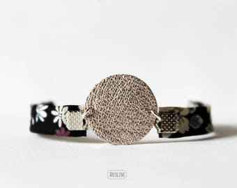 Floral Japanese fabric ° ° ° Gold Leather Bracelet