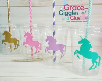 12 Unicorn Party Cups with Straws and Lids!