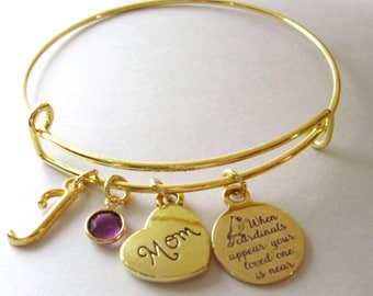 """MOM - When Cardinals Appear Your Love One Is Near """"W/ Birthstone ITINAL - Lost Of Love One - Gift Personalize  Gift For Her Usa G1"""