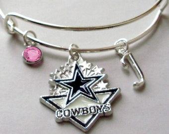 NFL Dallas Cowboy CHARM Bangle W/ Birthstone / Initial Football Charm Bangle / Bracelet - Patriots Bracelet -Gift  NFL Bangle  Usa