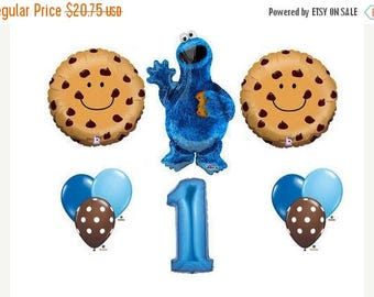 ON SALE 10 Sesame Street Cookie Monster Balloons birthday party supplies shower