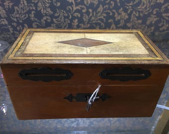 Antique Inlaid Money Box with Key