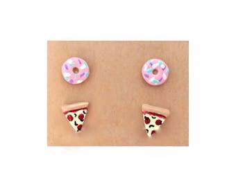 Junk Food Earring Duo, Pizza Earrings, Junk Food Earrings, Donut Earrings, Food Jewelry
