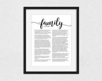 The Family Proclamation Printable // Instant Download // Foil Printing Available // Print up to 16x20 // Family Proclamation Print // LDS