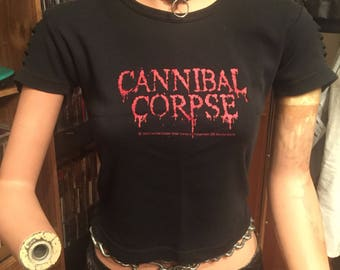 Reworked Distressed Worn Cut Cannibal Corpse Crop Top