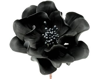 Open Rose Sugar Flower in Black for wedding cake decorations, gumpaste flowers, fondant cake toppers