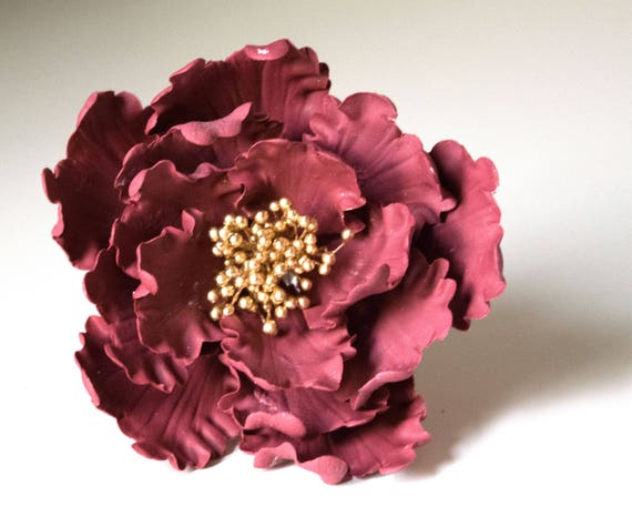 Maroon Peony READY TO SHIP sugar flower for wedding cake decorations, gumpaste flowers, fondant cake toppers