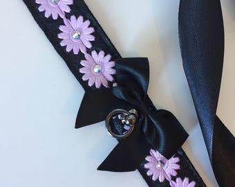 Pastel Purple Daisy & Rhinestone Satin Collar Kitten Play