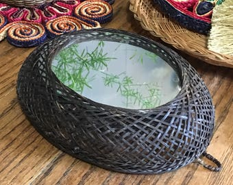 Vintage Boho Mirror •  Woven Basket Mirror • Small Oval Accent Mirror • Bohemian Decor