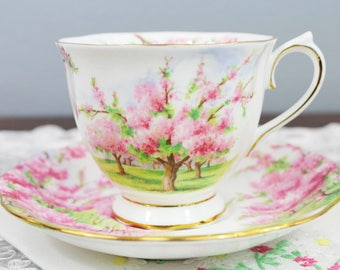 Vintage Royal Albert Blossom Time Pink Cherry Blossom Trees English Bone China Teacup and Saucer