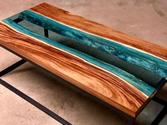 Custom Guanacaste With Blue Glass River Coffee Tables