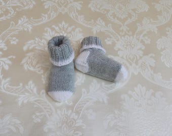 Baby socks, baby shoes, knitted, gray-white