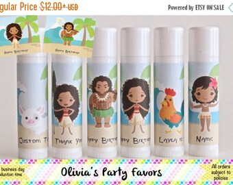 SALE Hawaiian Princess Party Favor - Beach Party Theme - Party Favor Lip Balm - Luau Birthday Party - Polynesian Theme Party - Moana Birthda