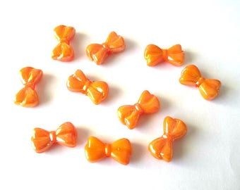10 acrylic Butterfly beads 18 x 10 x 6 mm orange color