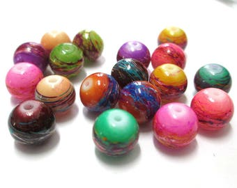 18 multicoloured drawbench beads mixed colors glass painted 10mm