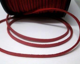 1 m look Burgundy suede 3 mm suede cord