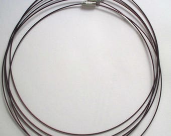 5 necklaces Brown clasp steel wire screw