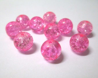 10 pearls, pink Crackle 10mm (S-4)