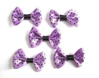 5 purple bowtie black 23x35mm dot appliques
