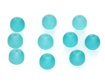 10 Blue Lagoon beads frosted glass 10mm