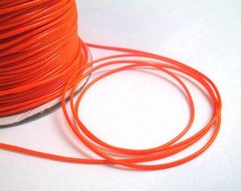 5 m thread cord neon orange polyester waxed 1 mm