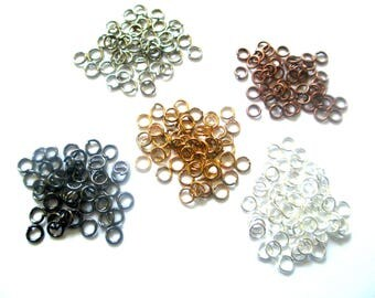 Lot 250 jump rings 4mm mix colors