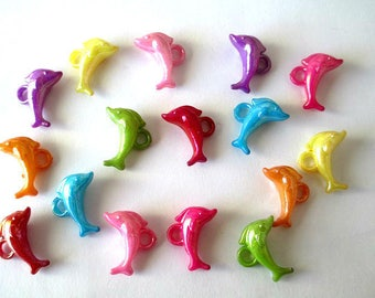 16 acrylic Dolphin pendants mixed color ab colored 13 x 19 mm