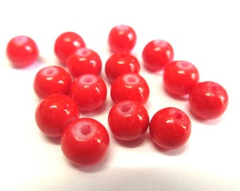 20 red painted glass (C-11) 6mm beads