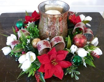 Christmas Candle Centerpiece, Poinsettia Candle Ring, Christmas Floral Centerpiece