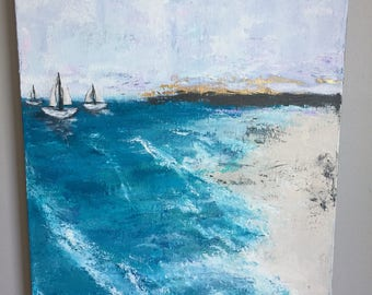 Abstract Art, Original Art, Ocean, Seascape, Beach Art, Cottage Style, Blue Painting, Sailboat Painting