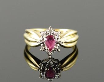 14k 0.40 CTW Ruby Diamond Halo Ring Gold