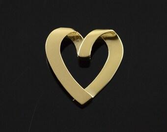 14k Free Form Heart Matte Pendant Gold