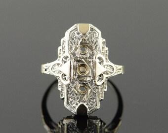 14k 3 Stone Filigree Art Deco Engagement Setting Ring Gold