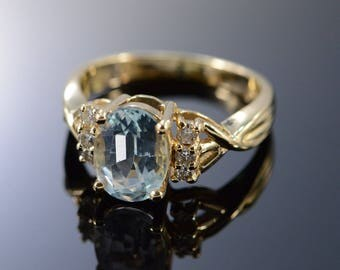 14k 1.45 Ctw Aquamarine Diamond Ring Gold