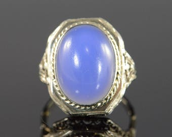 14k 8.00 Ct Chalcedony Cabochon Filigree Vintage Ring Gold